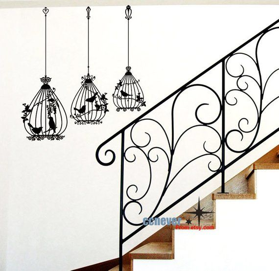 Set Of 3 Birdcage Art Graphic Vinyl Wall Decals Stickers Mural