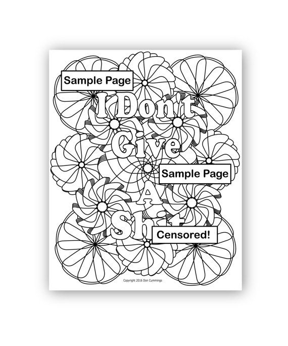 I Dont Give A Shit Instant Digital Download Swear Word Coloring Page Adult Book Colouring