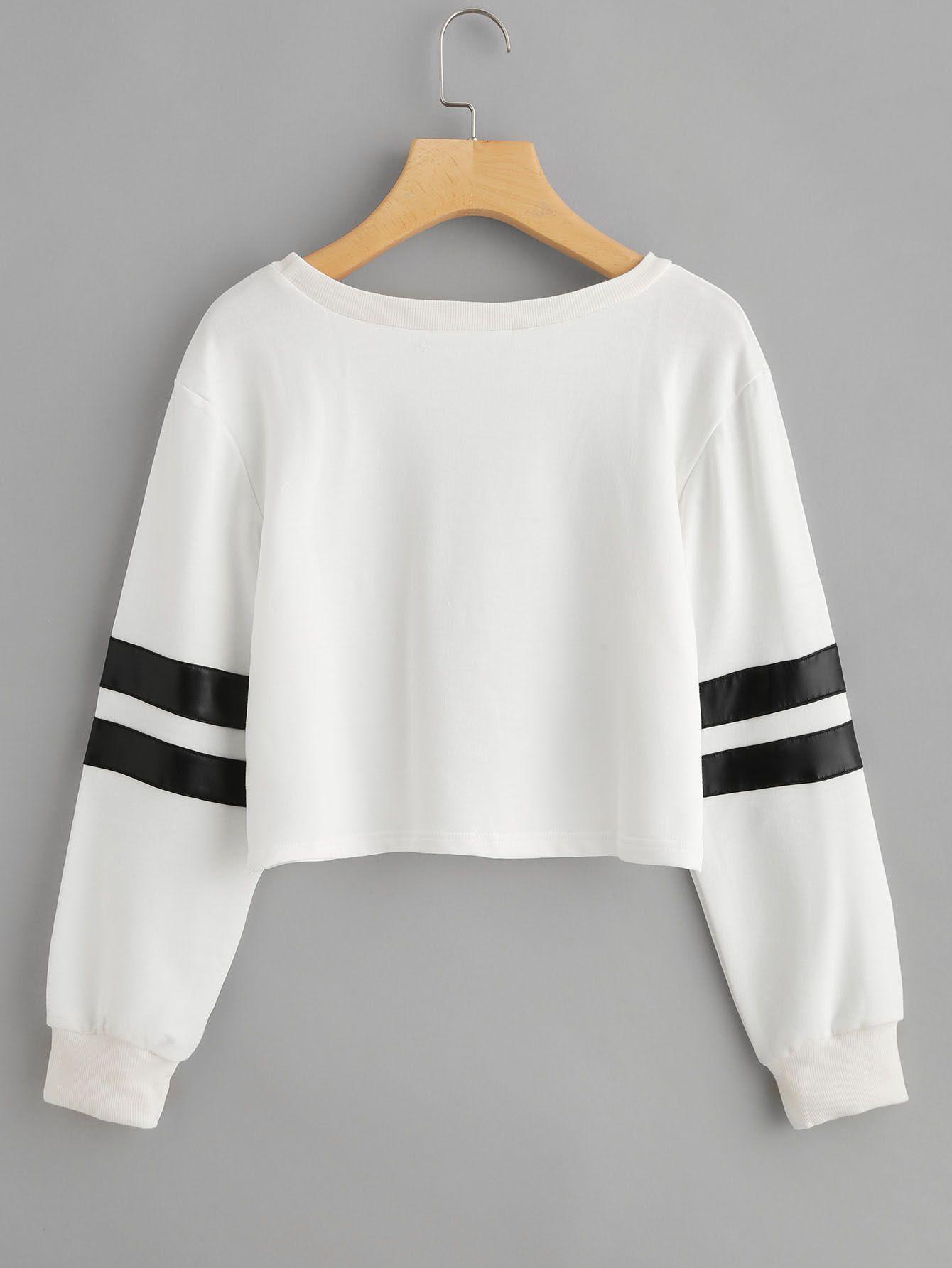 8cac5c726b Varsity Striped Crop Sweatshirt -SheIn(Sheinside) | Varsity Striped ...