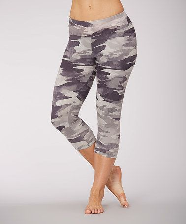Another great find on #zulily! Black & Gray Camo Capri Leggings by Marika #zulilyfinds