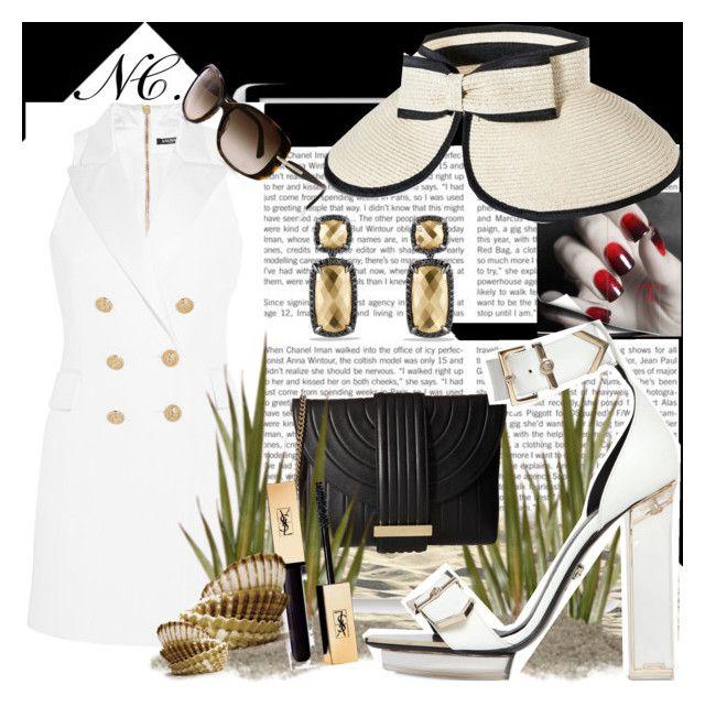 Favorite hat. NC contest. by noemicapozza on Polyvore featuring polyvore Balmain Versace Salvatore Ferragamo David Yurman Merona Prada Bomedo fashion style clothing