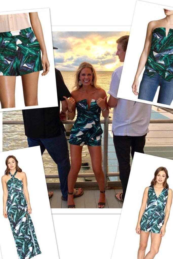 22751eeea973 Cameran Eubanks  Green Palm Leaf Print Top and Shorts   Romper Look in Key  West