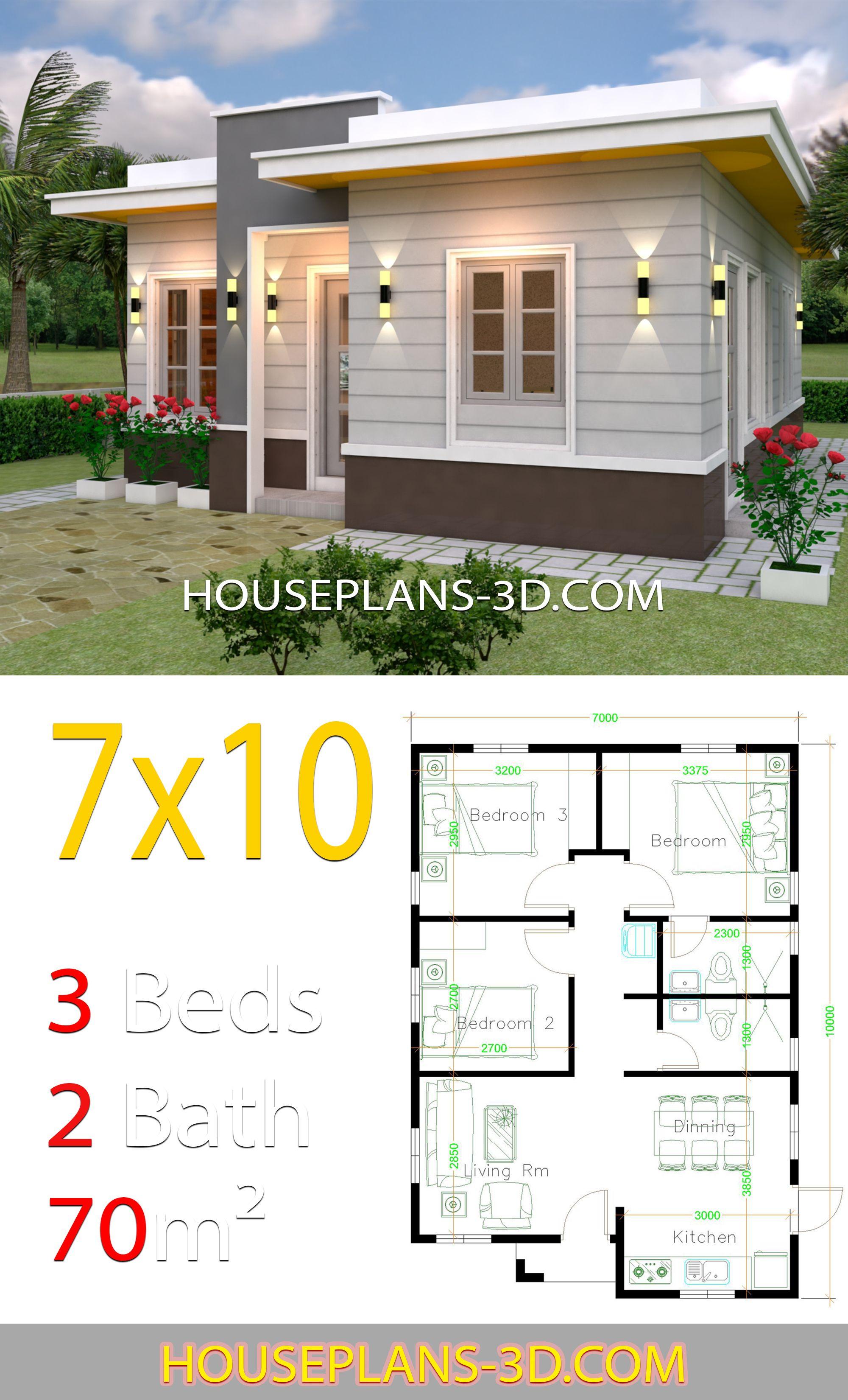 House Design 7x10 With 3 Bedrooms Terrace Roof House Plans 3d Croquis De Casas Pequenas Planos De Casas Medidas Diseno De Casas Sencillas