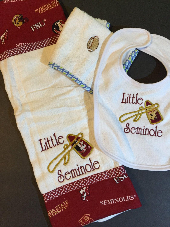 Baby, Gift Set, FSU, Seminoles, Florida State, Bib, Burp ...