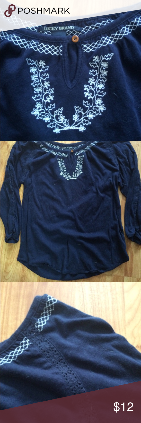 Lucky Brand Boho Top Lightweight boho top, navy blue with white embroidery flowers. Lucky Brand Tops