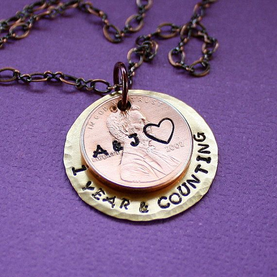 One Year Anniversary Necklace Hand Stamped Personalized Gift One Year And Counting Penny Necklace Anniversary Necklace Penny Necklace Necklace