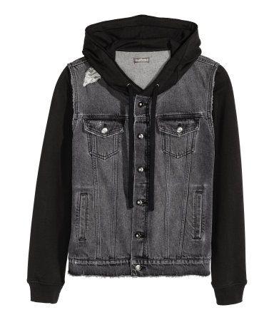 H M Denim Jacket With Hood 49 99 Hooded Denim Jacket Denim Jacket Men Mens Jackets