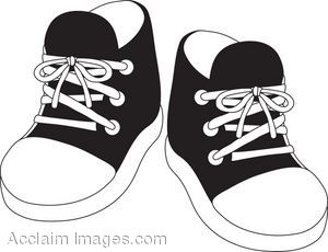 Clipart Illustration Of A Pair Of Black Child S Tennis Shoes Shoes Clipart Memorization Games Baby Clip Art