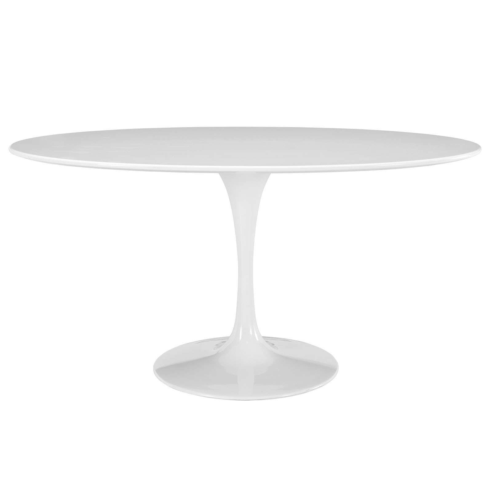 Modway Lippa White 60 Quot Oval Shaped Wood Top Dining Table