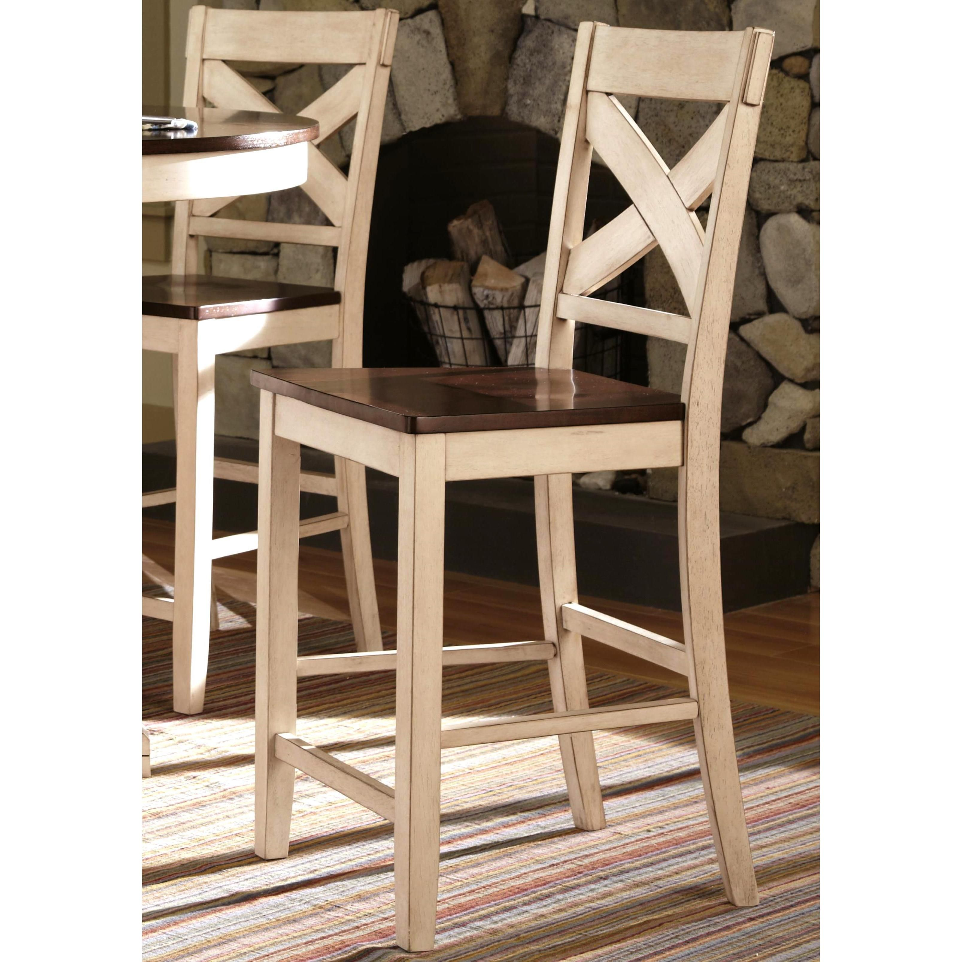 Limonium Antique White Cross Back Counter Stools