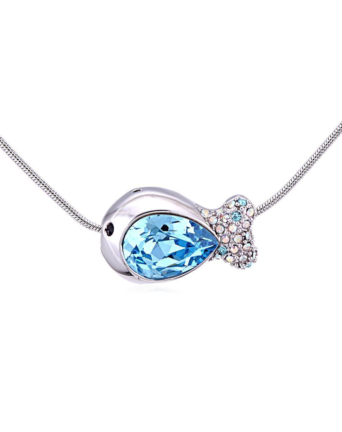 #AdoreWe #VIPme (VIPSHOP Global) ouxi❤️Designer Accessories Fish-Shaped Austria Crystal Necklace - AdoreWe.com