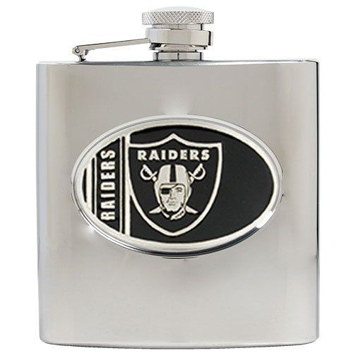 NFL Oakland Raiders 6oz Stainless Steel Hip Flask by Great American Products. $29.99. Officially Licensed flask decorated in team colors.