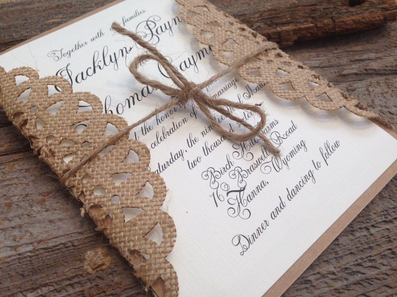 Rustic Wedding Invitation,Burlap Wedding Invitation,Rustic Elegant ...