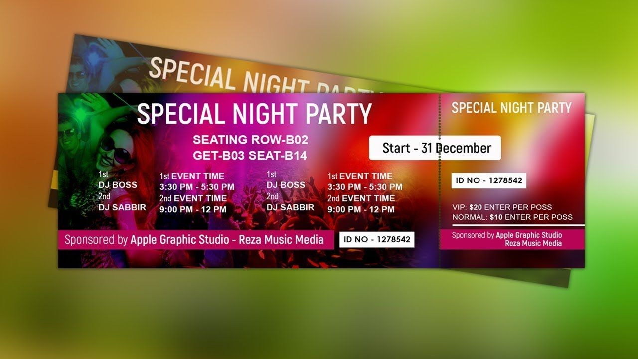 How To Design A Event Ticket Template Photoshop Tutorial Event Ticket Template Ticket Template Event Tickets Design