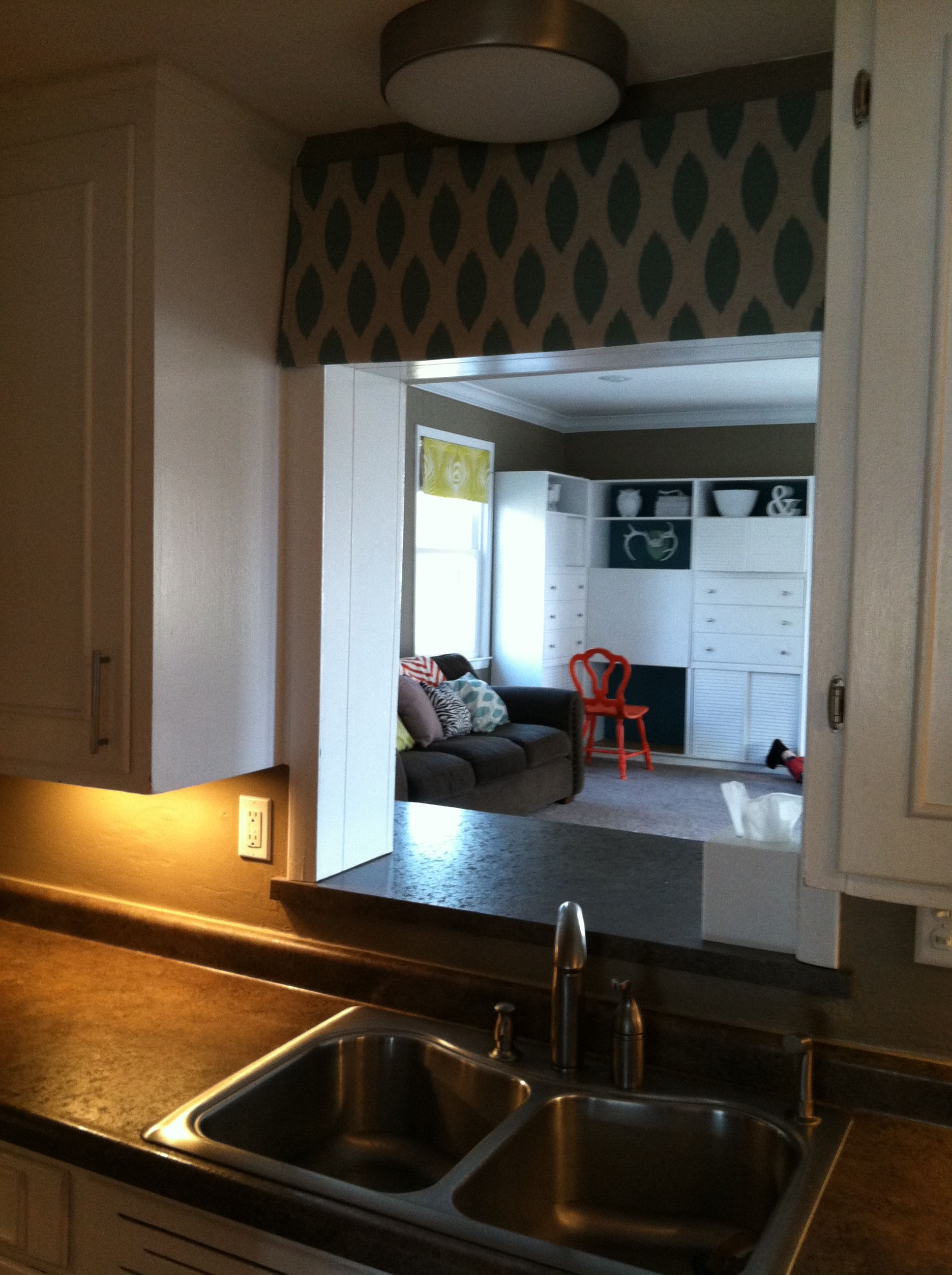 Curtain Above Sink On Pass Through Window Plus Under Cabinet Lighting Kitchen Remodel Pass Through Window