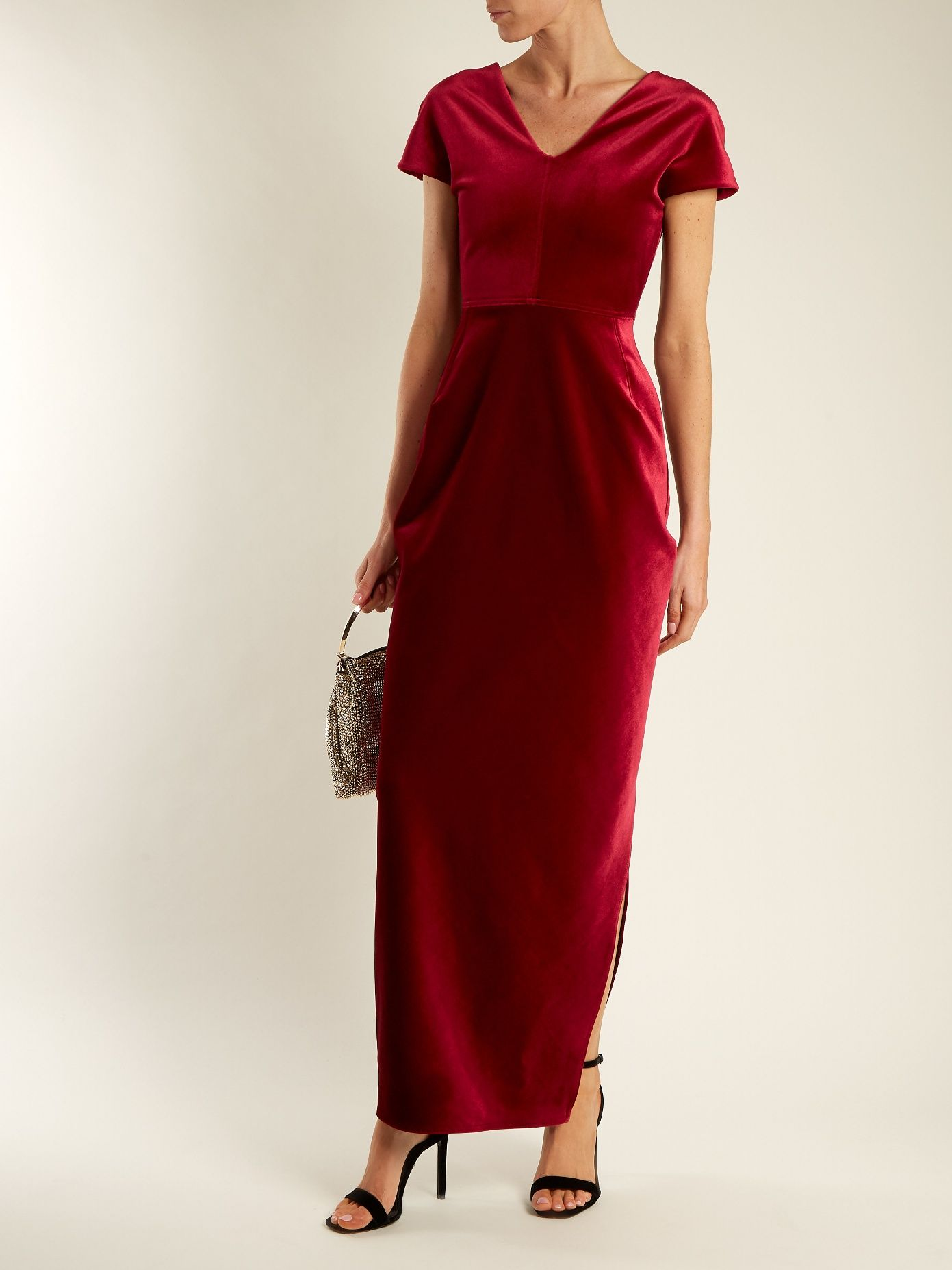 Tamara Dartelle V-neck velvet gown Emilio de la Morena P73htJE