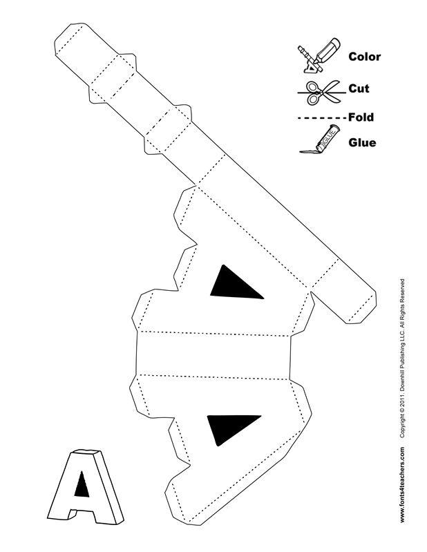 3d alphabet buchstaben basteln ausschneiden schneiden. Black Bedroom Furniture Sets. Home Design Ideas