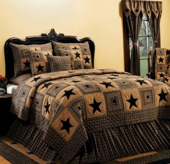 Country and primitive bedding quilts vintage star black bedding by ihf country decor primitive decor bedding braided rugs