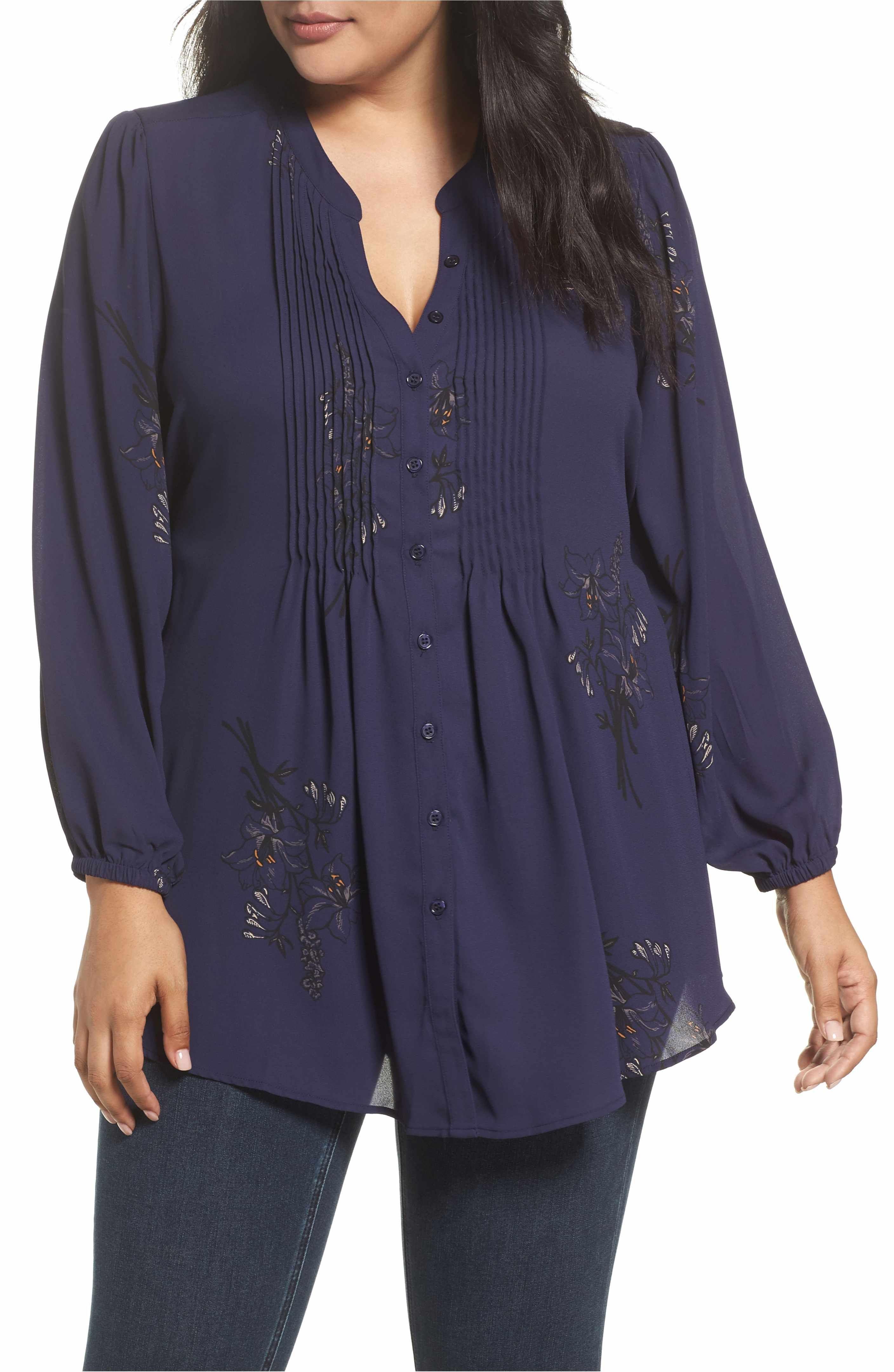 6b6812c936acb Main Image - Melissa McCarthy Seven7 Classic Pintuck Shirt (Plus Size)