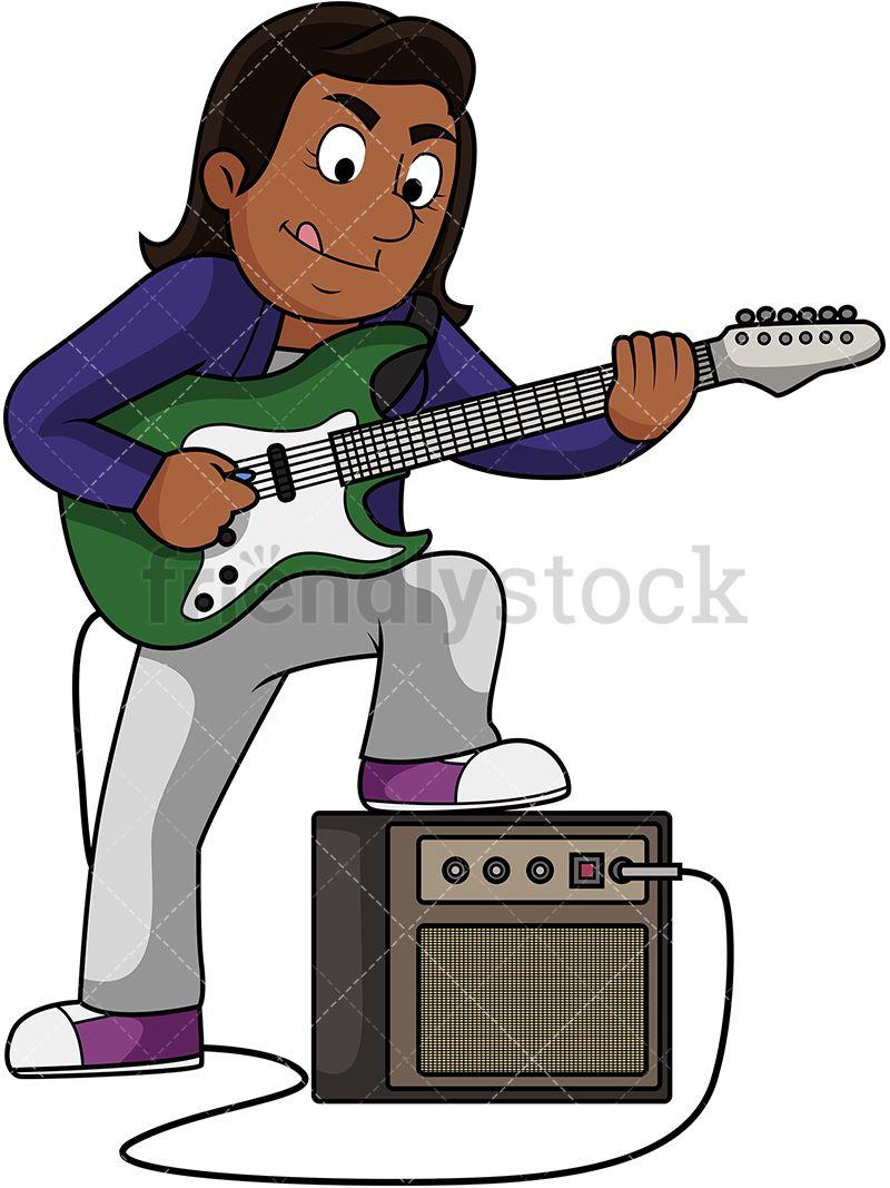 Black Woman Playing Electric Guitar | diy | Vector clipart