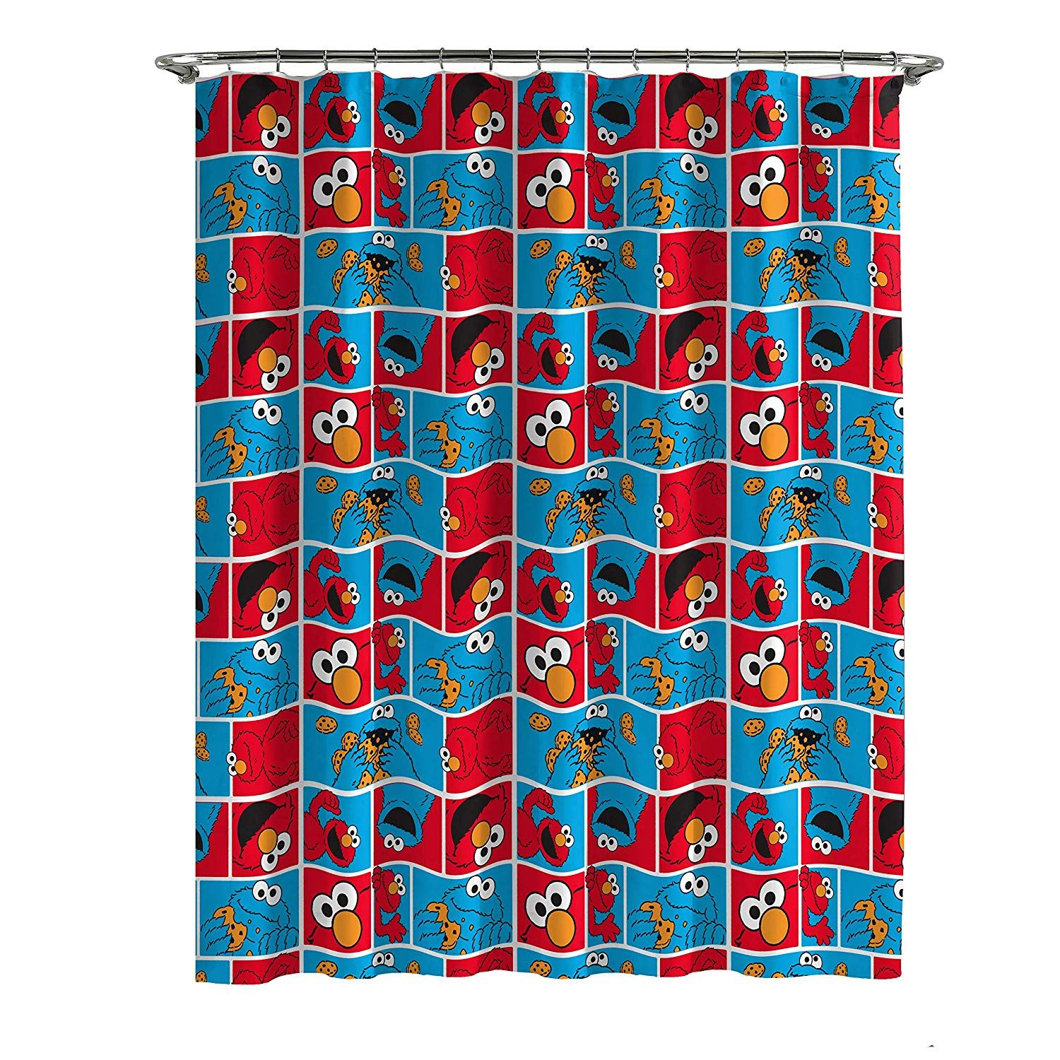 Jay Franco Sesame Street Elmo Cookie Squares Shower Curtain At