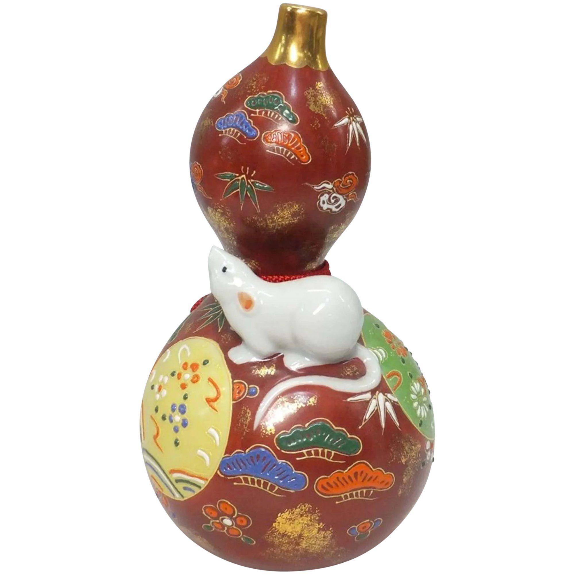Japanese vintage kutaniyaki porcelain gourd bottle by