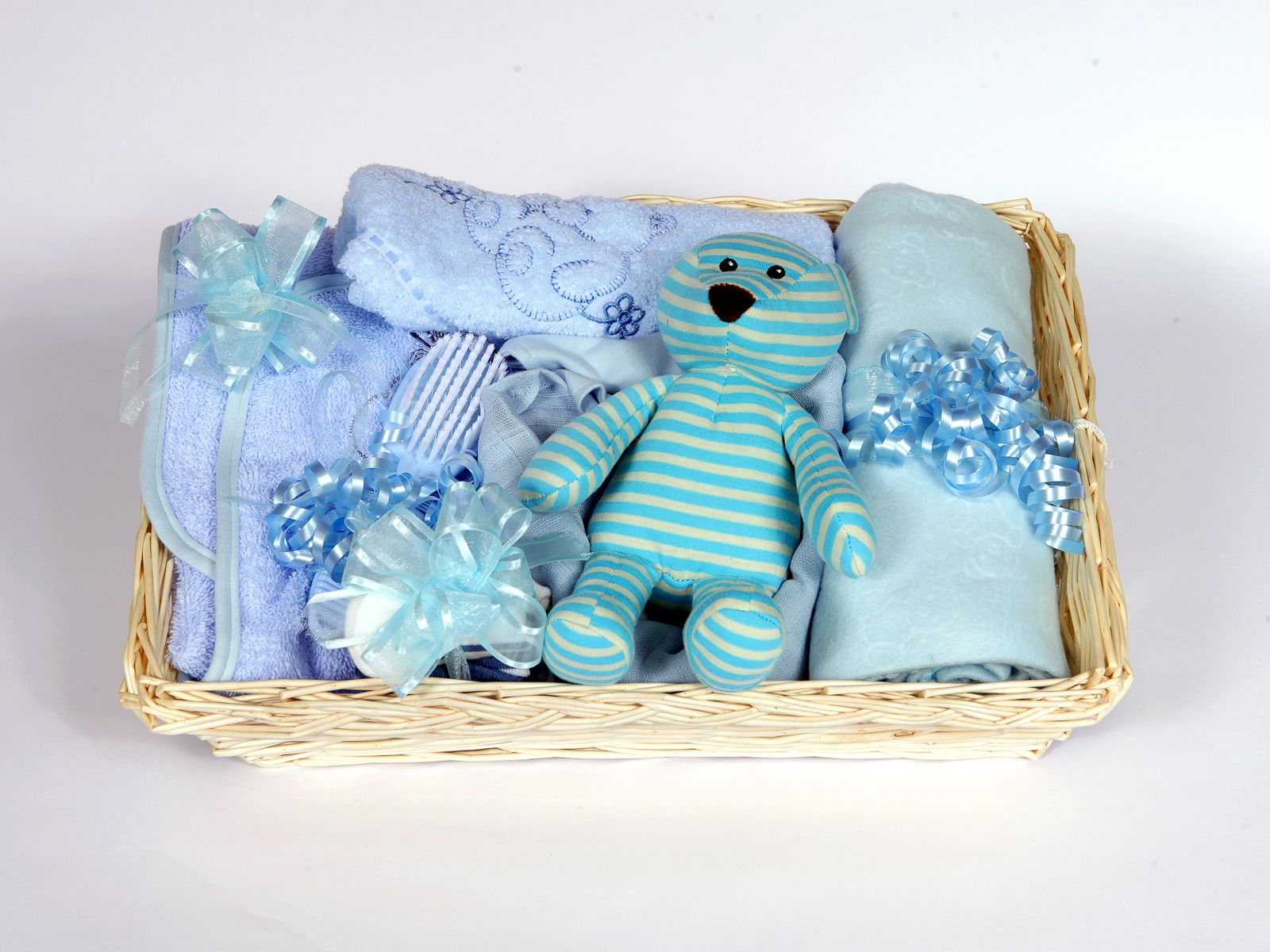 Baby Showers Gifts Uk ~ Gift wrapped blue ideal baby shower hamper essential items
