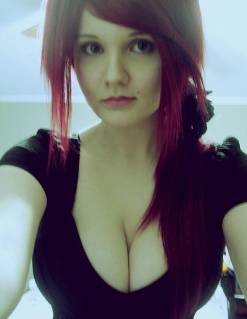 Busty black redhead