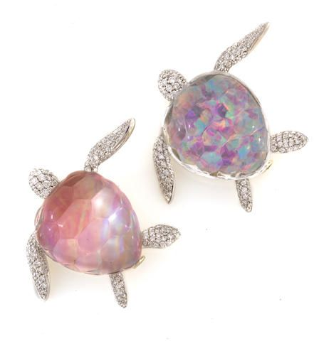 Two Rock Crystal Opal Pink Mother Of Pearl And Diamond Turtle Brooches