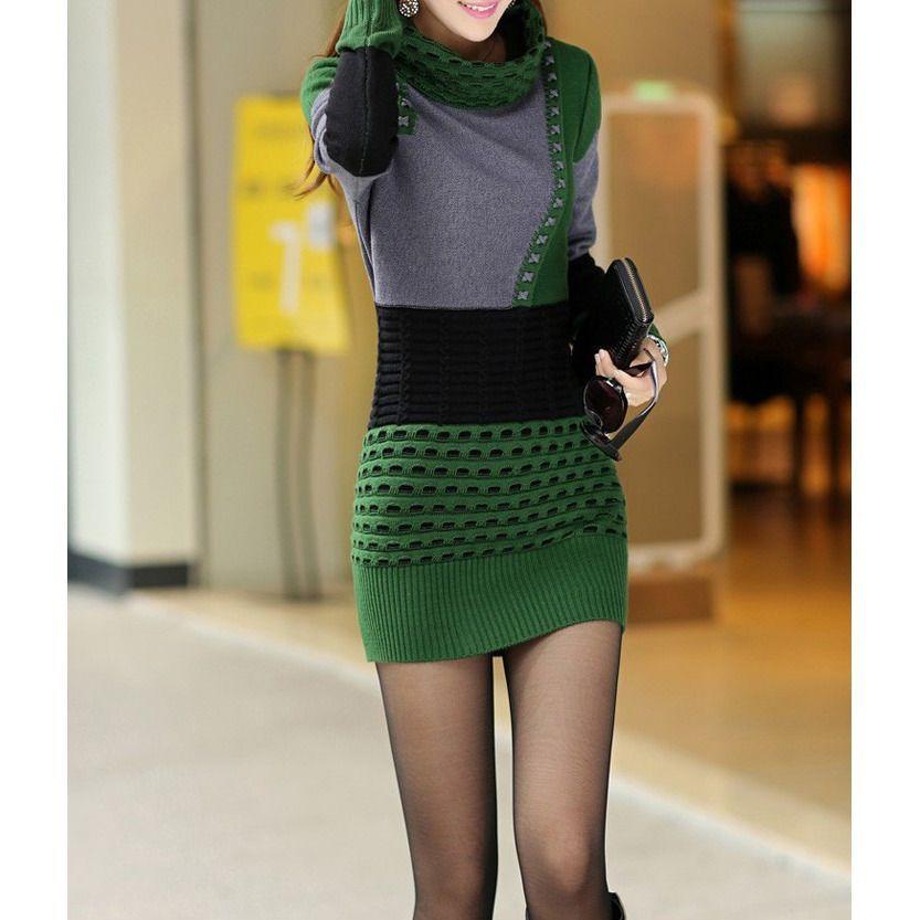 Woman Winter Dress Turtleneck Plus Size