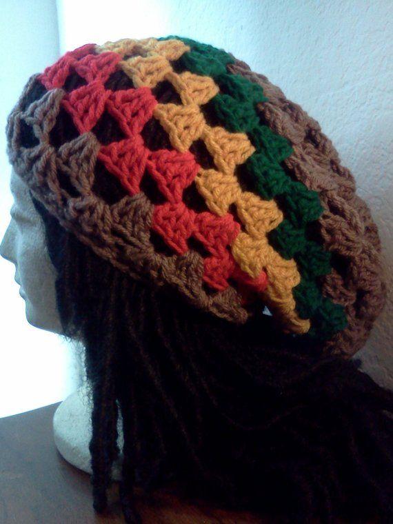 3cf071e92af Custom Granny Square Rastafarian Tam    Crochet Tams    Unisex Slouchy  Rasta Hats