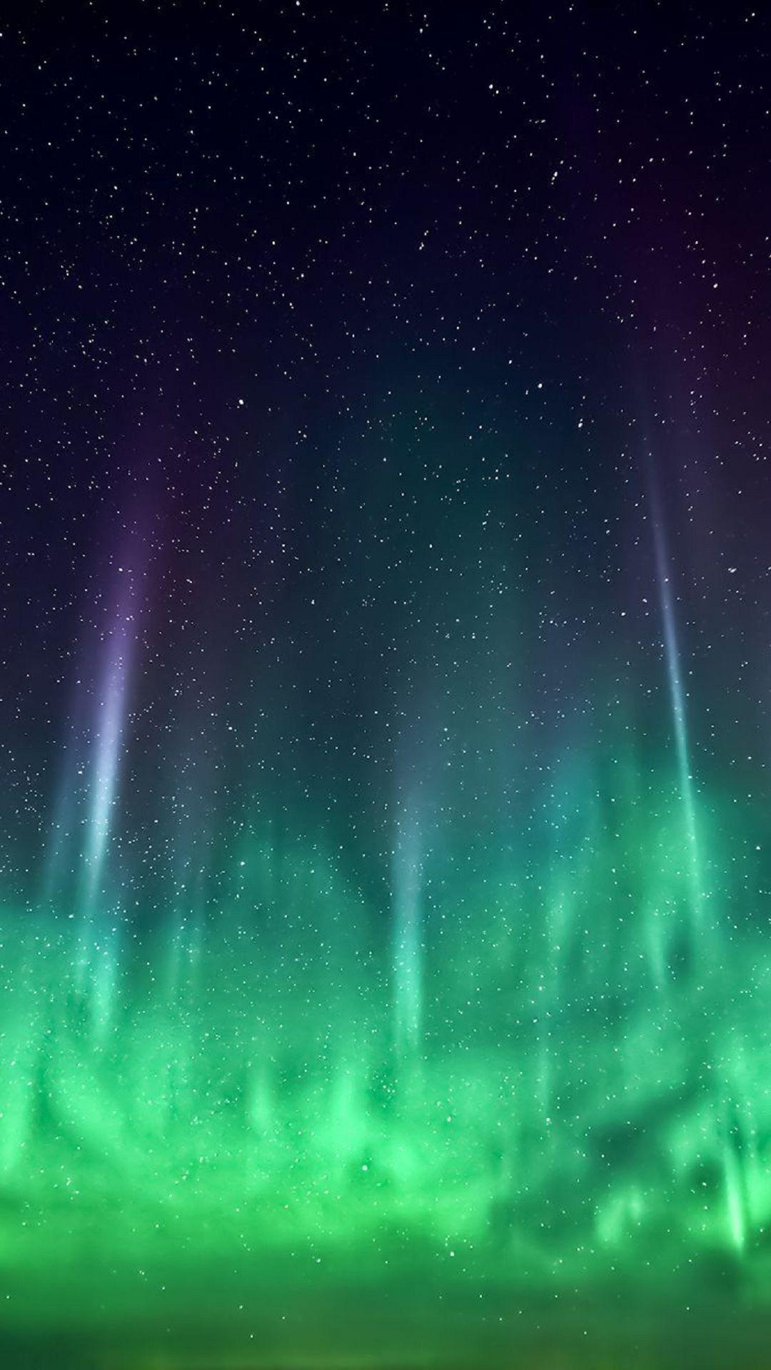 Aurora borealis green stars space phone wallpaper hd check