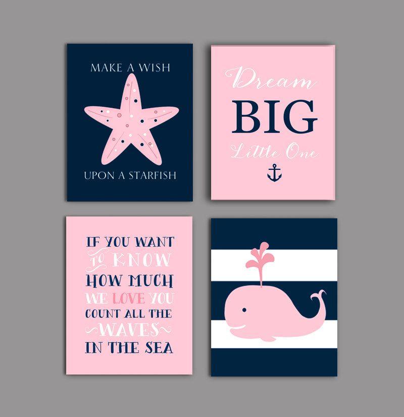 Baby Nash S Vintage Nautical Nursery: Nursery Prints Girl, Baby Girl Nursery Decor, Navy Pink