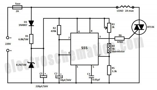temperature controller with 555 circuit projects electrónicatemperature controller with 555 circuit