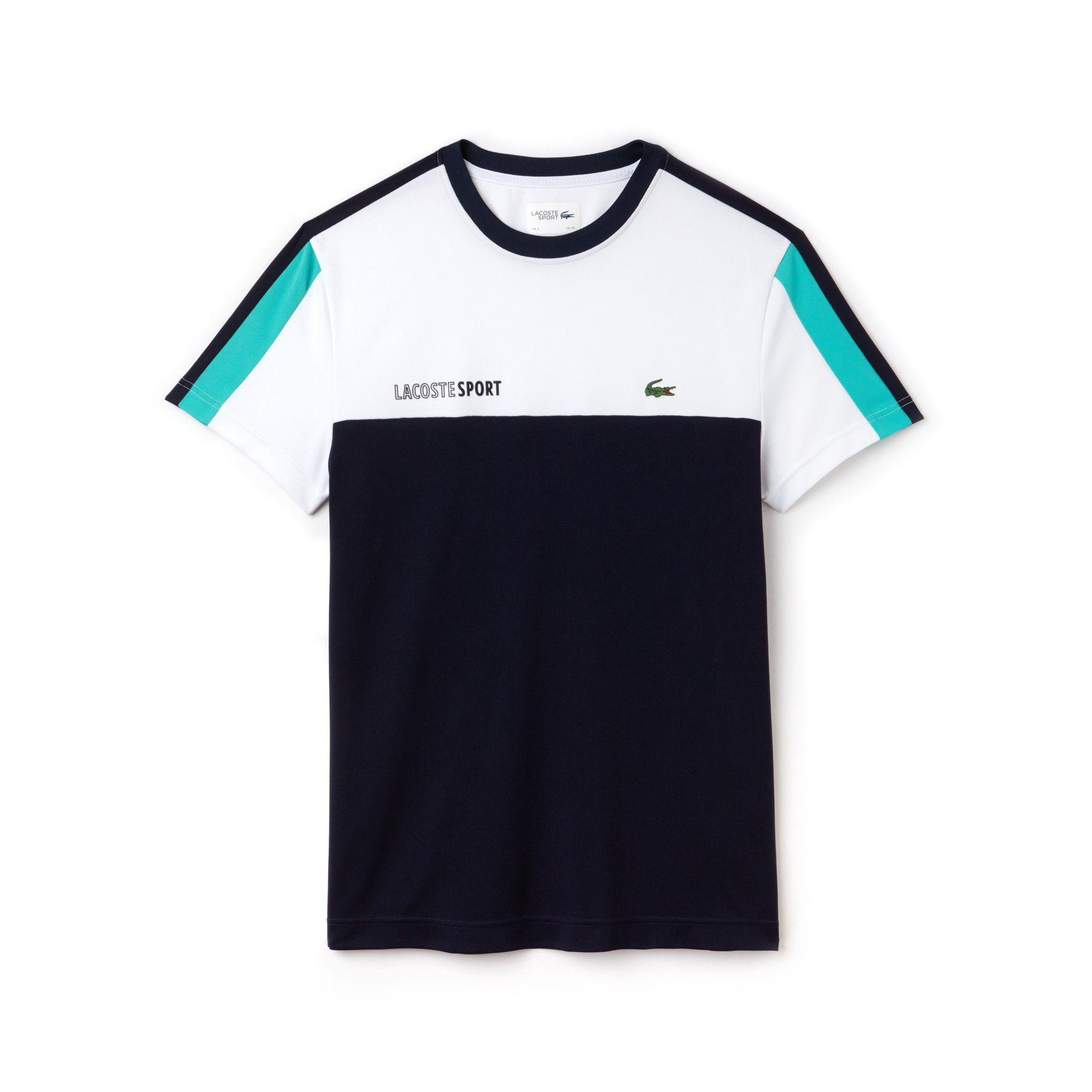 c047843d5 Lacoste Men s Sport Crew Neck Colorblock Piqué Tennis T-Shirt - White Navy  Blue-Papeete Xxl 7 Green