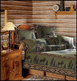 Lodge cabin log cabin themed bedroom decorating ideas for Hunting cabin bedroom