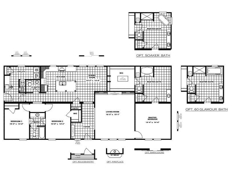 Farmhouse Model 2 040 Sq Ft 3 Beds 3 Baths Clayton Homes Mobile Home Floor Plans Floor Plans