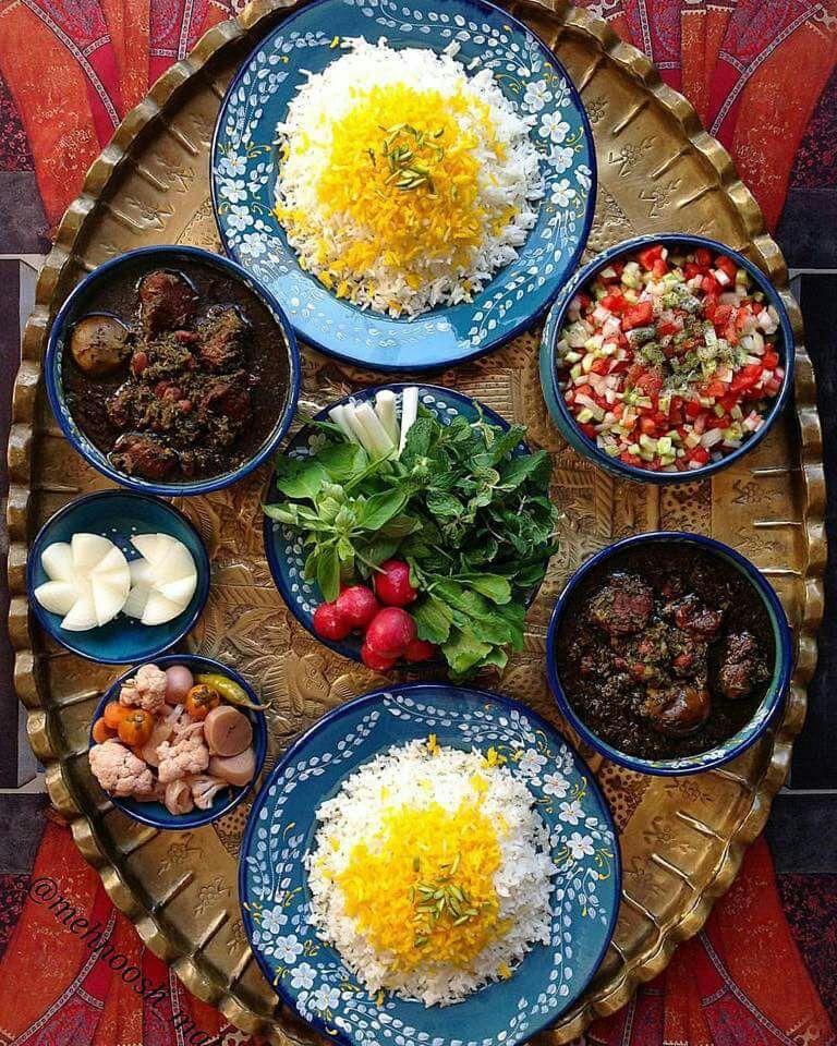 Image result for ghormeh sabzi iranian sofreh