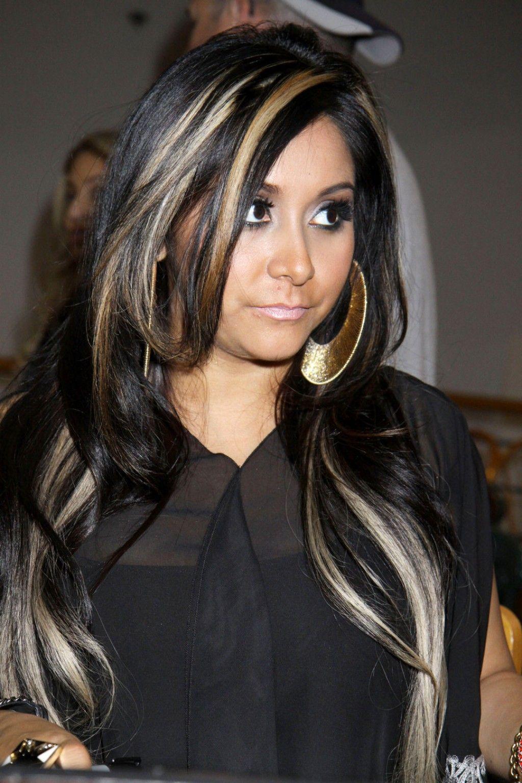 Black Hair With Blonde Highlights Snooki Hair Black Hair With Blonde Highlights Hair Highlights