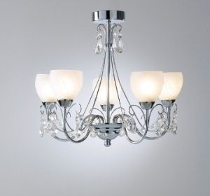 5 Light Halogen Traditional Bathroom Chandelier With Crystal Drops And Glass Shades Complete Ceiling Lights Bathroom Ceiling Light Bathroom Chandelier