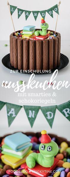 Zur Einschulung Leckerer Schoko Nuss Kuchen Mit Schokoriegel Deko Trickytine Kuchen Einschulung Schokoriegel Schoko Nuss Kuchen