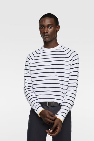 3dcf8860da ZARA - Male - Striped sweater with piping - White - Xl | Products in ...