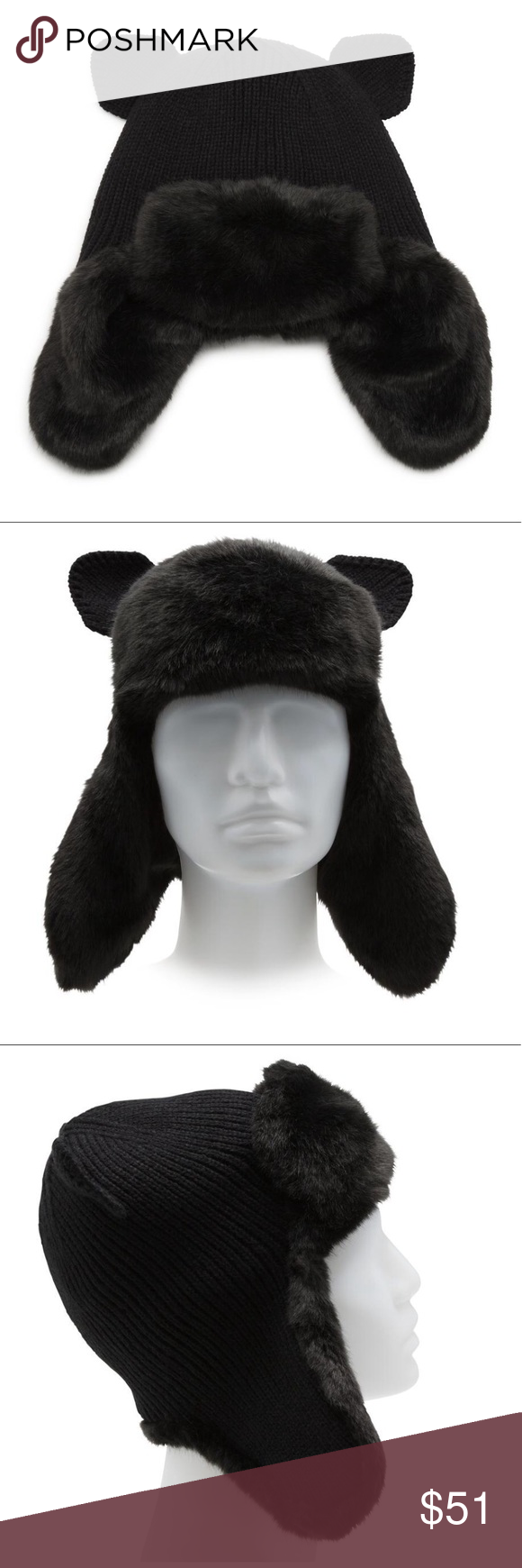 c5bce41cbea Karl Lagerfeld Faux Fur Kitty Trapper Hat NWT Karl Lagerfeld Faux Fur Kitty  Trapper Hat New