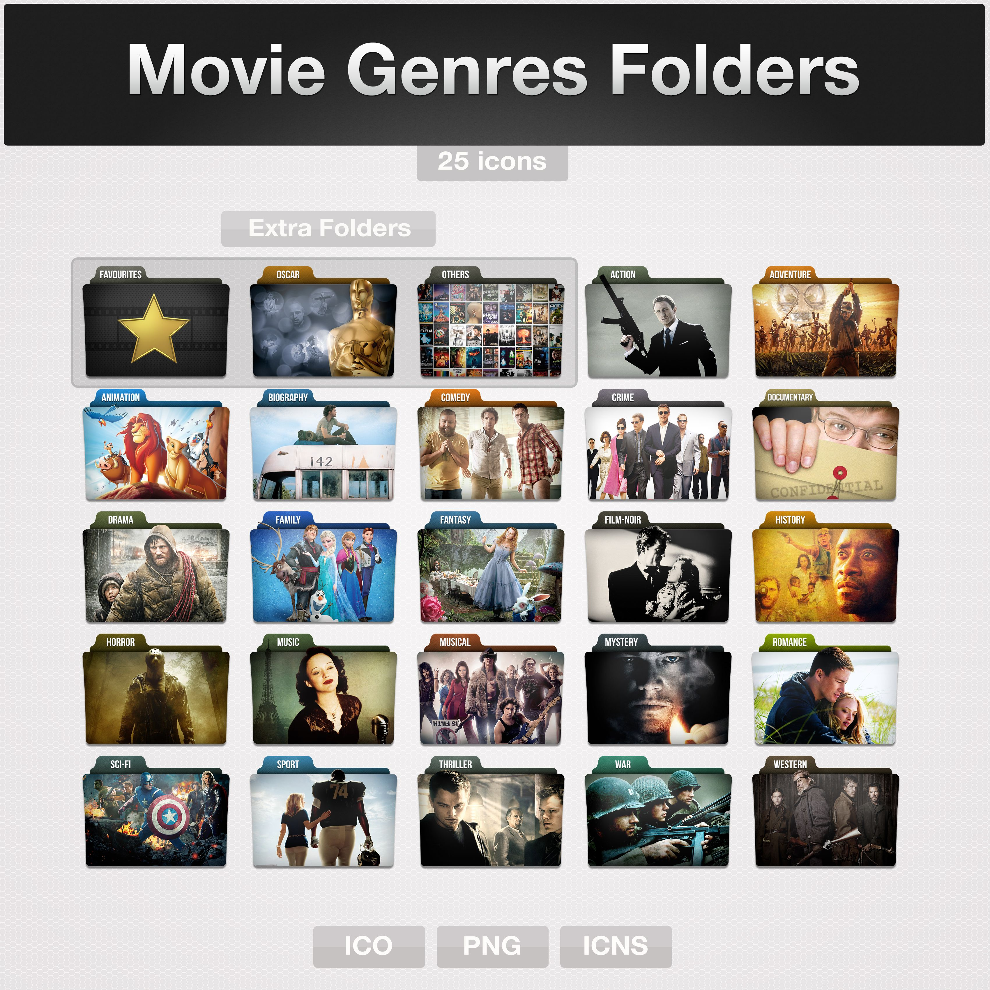 Movie Genres Folders (icons) By Limaviantart On @deviantart