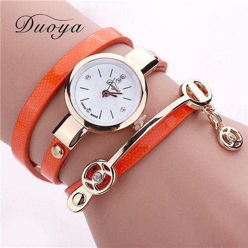 Duoya Women PU Leather Bracelet Watch Gold Quartz Watches Women Wrist Watch Laides Casual Rhinestone WristWatch Relogio feminino