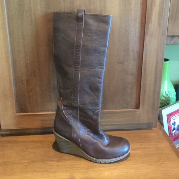 Boots Brown leather pull on boots with wedged heel. Kickers Shoes Heeled Boots