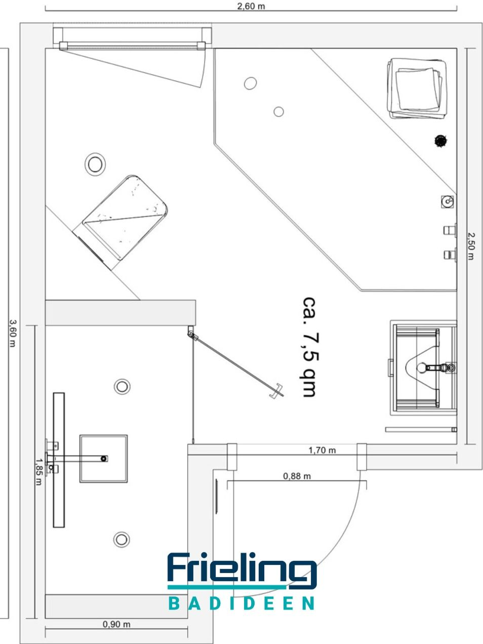 Das Bad In L Form Grundriss Grosse Dusche Badezimmer Grundriss Pendeltur