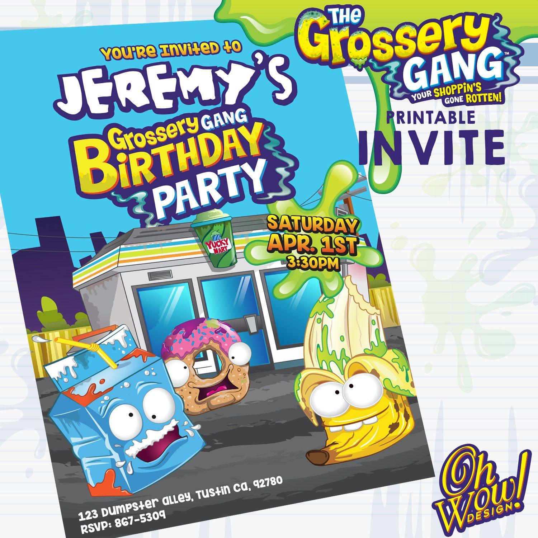 Grossery Gang: Theme Birthday Invitation by OhWowDesign on Etsy ...