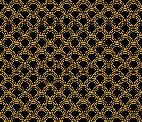 Colorful Fabrics Digitally Printed By Spoonflower Art Deco Scallop Black And Gold In 2021 Art Deco Fabric Art Deco Print Art Deco Wallpaper