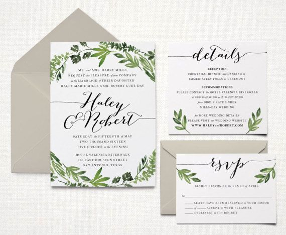 Ready To Print Wedding Invitations: This Listing Is For A Printable Wedding Invitation Suite